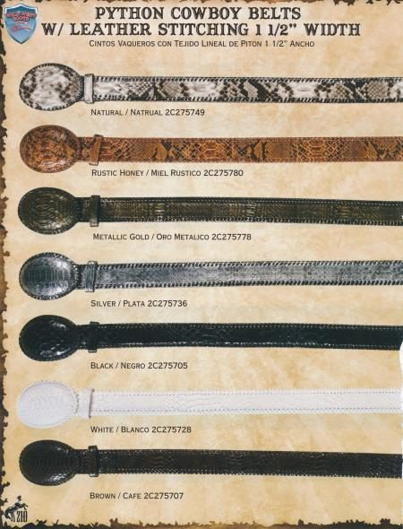 Genuine Python/Leather Cowboy Belts 1.5inch Width Diff. Colors/Sizes