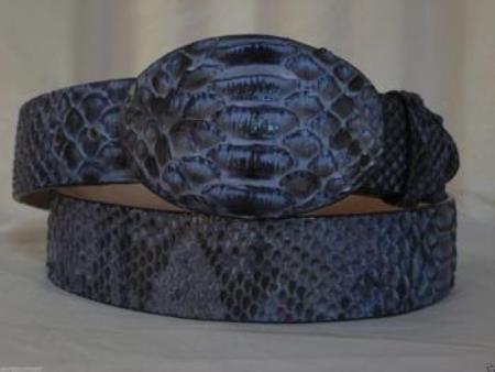 Genuine rustic blue python snake western cowboy belt