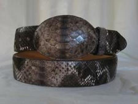 Genuine rustic brown python snake western cowboy belt