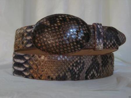 Genuine rustic cognac python snake western cowboy belt