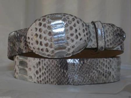 Genuine silver natural python snake western cowboy belt