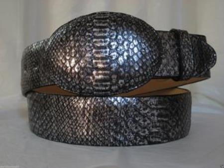 Genuine silver python snake western cowboy belt