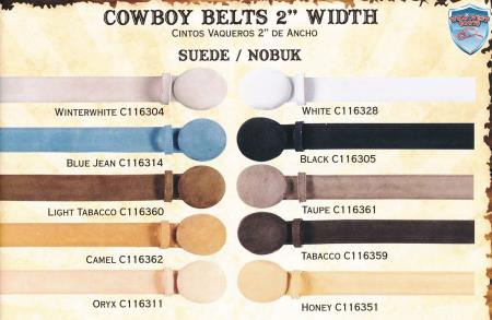 Genuine Suede/Nobuk Cowboy Western Belts 2inch Width All Sizes
