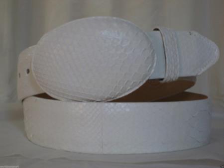 Genuine white python snake western cowboy belt
