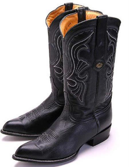 Goat Leatherp Black Los Altos Mens Cowboy Boots Western Classics Riding