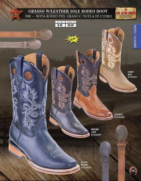Grasso w/ Leather Sole Rodeo Mens Cowboy Boots Diff. Colors/Sizes