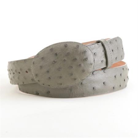 Gray ostrich belt