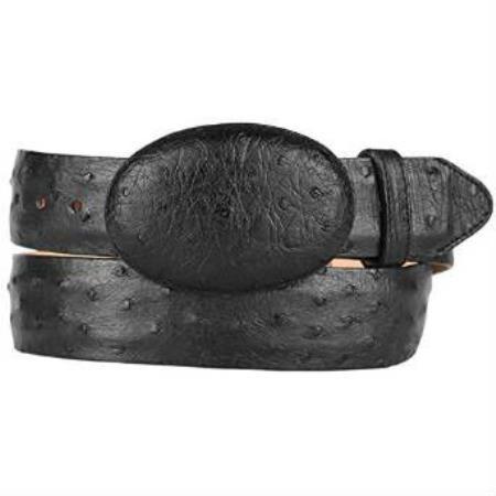 Hand crafted original ostrich full quill skin western black belt