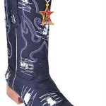 Handmade Fabric Classic Los Altos Men Cowboy Fashion Western Boots Denim Black