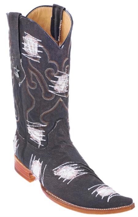 Handmade Fabric Pointy Los Altos Mens Cowboy Fashion Western Boots Black