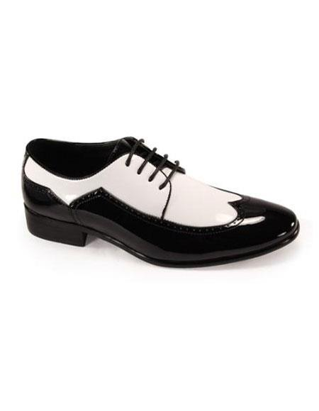 Men's Lace up Wingtip Tuxedo Shoes Black/Mens White Dress shoe