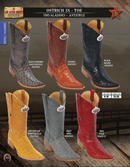 3X Toe Genuine Ostrich Mens Western Cowboy Boots Diff.Colors/Sizes