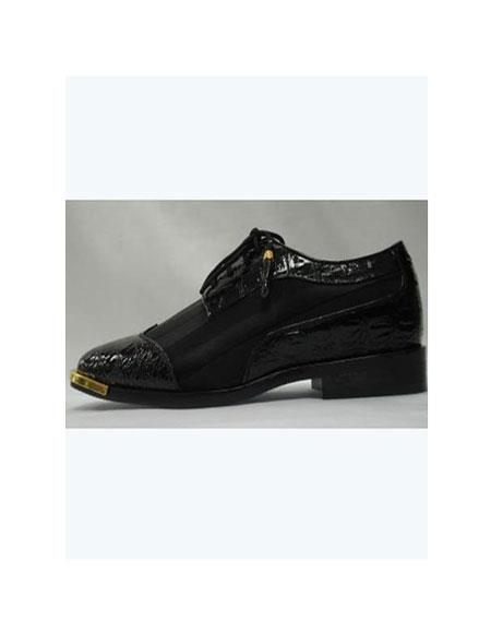 Faux cushioned Leather Wingtip Style Mens Cool Black Satin Dress Lace-Up Shoes