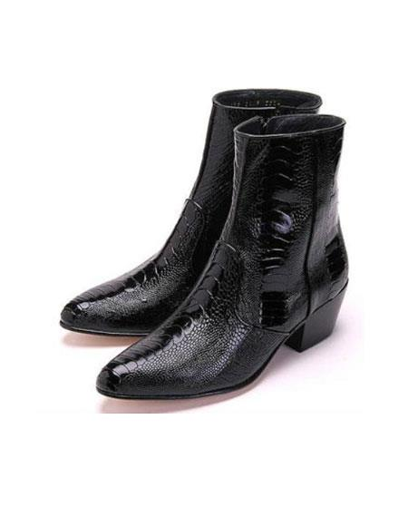 Mens Los Altos Genuine Ostrich Higher Heel Paw Black Dress Boot Ankle Dress Style For Man