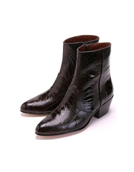 Mens Los Altos Genuine Ostrich Higher Heel And Inside Zipper Paw Dress Boot Brown Ankle Dress Style