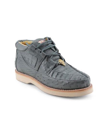 Mens Los Altos Genuine Caiman & Ostrich Four Eyelet Lacing Grey Shoes