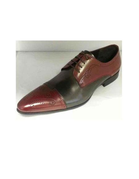 Zota Mens Unique Dress Unique Zota Mens Dress Shoe Brand Men's Burgundy ~ Wine ~ Maroon Color/Grey Lace Up Leather Footwear Shoes