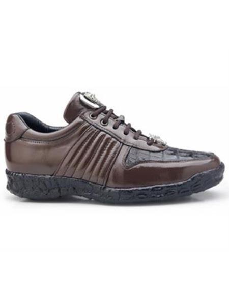 Astor Authentic Belvedere Exotic Skin Brand Mens Brown Genuine Crocodile and Soft Calf Leather lining Shoe
