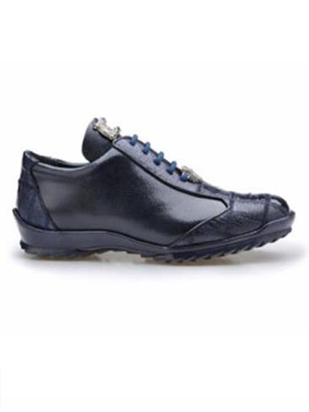 Paulo Authentic Belvedere Exotic Skin Brand Genuine Night Blue Ostrich and Soft Calf Leather Lining Shoe