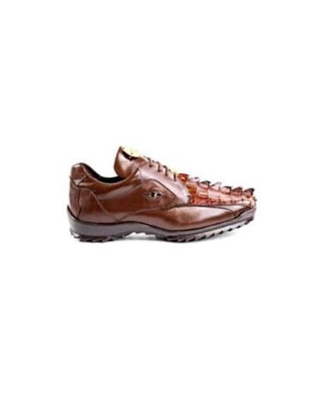 Authentic Belvedere Exotic Skin Brand Genuine Brown Hornback Crocodile and Soft Calf Leat