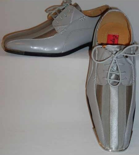 Men's Gorgeous Laceup Style Satin Striped Classy Silvertip Silver/Gray Dress Shoes