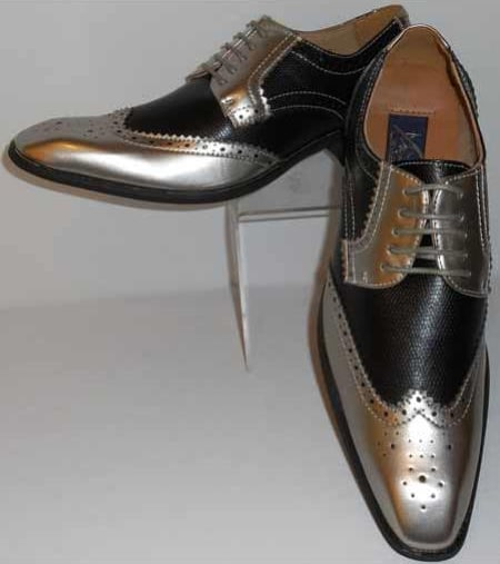 Men's Gorgeous Wingtip Laceup Style Antique Metallic Silver & Black Dress Shoes