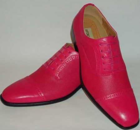 Mens Fashionable Cap Toe Laceup New Design Fuschia Pink Leather Dress Shoes