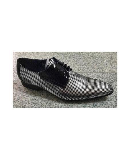 Zota Mens Unique Dress Shoes Brand Men's Lace Up Silver Polka Dot Style Pointy Toe Fashion Unique Zota Mens Dress Shoe