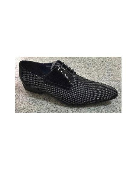 Zota Mens Unique Dress Shoes Brand Men's Black/White Leather Trim Pin Dot Pattern Laceup Fashionable Unique Zota Mens Dress Shoe