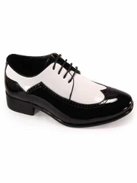 Bold Black And White Wingtip Two Toned Shiny Dress Oxford Shoes Perfect For Men 1920s Gangster Style