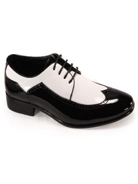 Bold Black and White Wingtip Two toned Shiny Dress Shoe 1920s Gangster Style