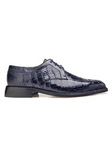 Susa Belvedere Men's Genuine Crocodile Navy Leather Lining Shoes