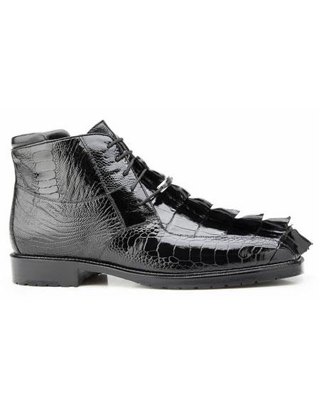Belvedere Men's Genuine Hornback And Genuine Ostrich Lace Up Black Rubber Sole Boot