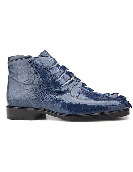 Belvedere Men's Leather Lining Lace Up Blue Jean Shoes
