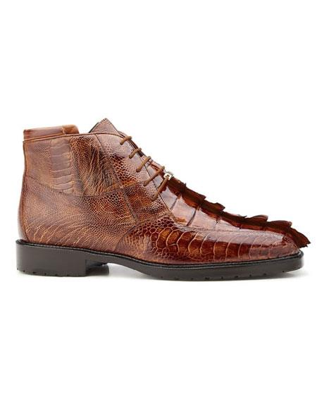 Belvedere Men's Brandy/Antique Brown Genuine Hornback And Genuine Ostrich Shoes