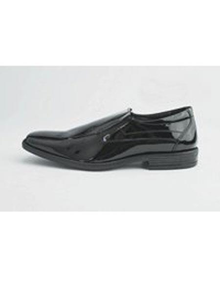 Men's Cushion Insole Square Toe Orleans Black Patent Shoes
