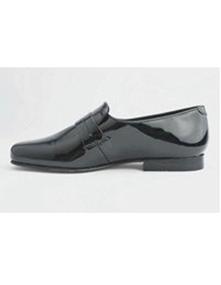 Men's Leather Sole Slip On Black Genuine Pattern Shoes