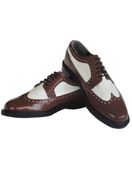 Men's Thine Leather Sole 5 Eyelet Lacing Wingtip Brown~White Shoes
