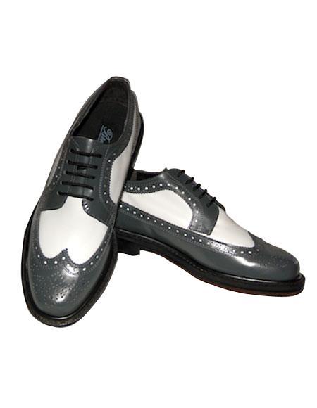 Men's Cushion Insole Wingtip 5 Eyelet Lacing Grey~White Shoes