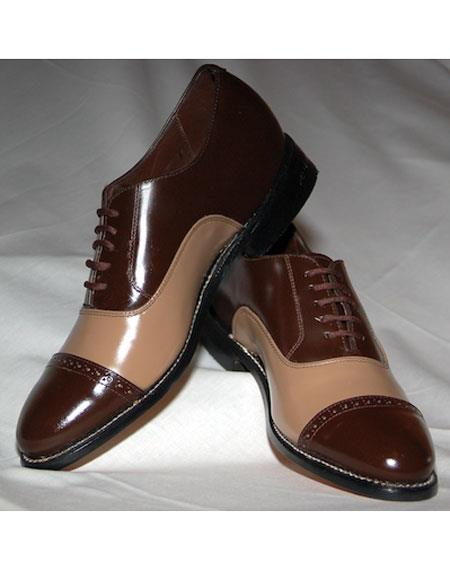 Men's Cushion Insole Cap Toe Dark Brown~Taupe Shoes