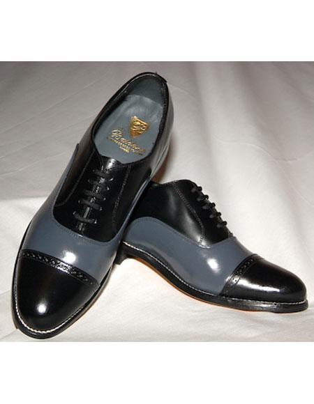Men's Leather Sole 5 Eyelet Lacing Black~Grey Shoes