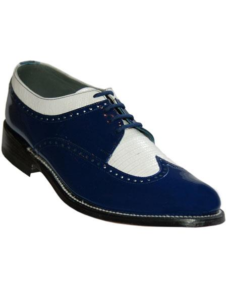 Men's Cushion Insole Royal Blue~White Wingtip Oxford Shoes Perfect For Men
