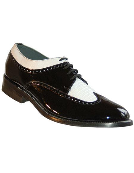 Men's Genuine Pattern 4 Eyelet Lacing Black~White Shoes