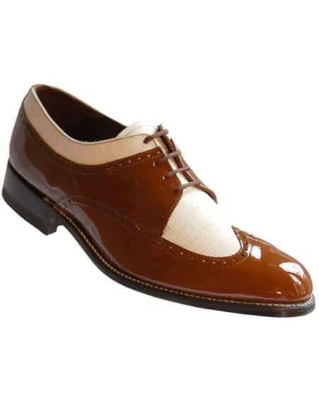 Men's Leather Sole Wingtip Brown~White Stacy Baldwin Shoes