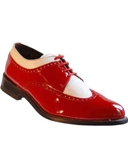 Men's Red And White Dress Shoes Leather Cushion Insole Wingtip - Red Men's Prom Stacy Baldwin Shoes