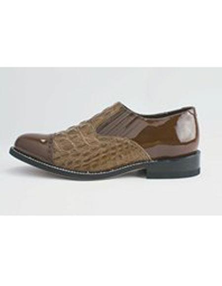 Men's Cushion Insole Alligator Print Cap Toe Brown Leather Shoes