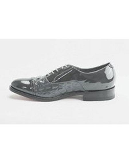 Men's Cushion Insole Horn Back Leather Sole Alligator Print Grey Shoes