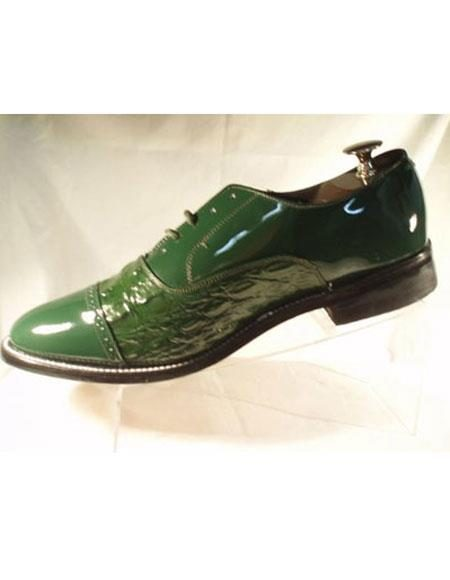 Men's 2 Eyelet Lacing Cushion Insole Green Horn Alligator Print Back Shoes