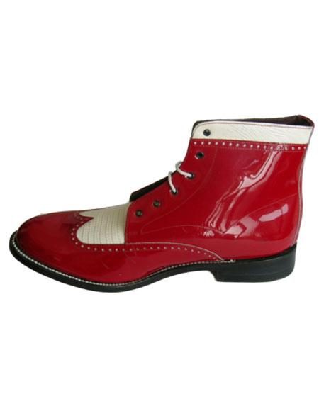 Leather Cap Toe Red ~ White Two Eyelet Lacing Mens Red And White Dress Shoes
