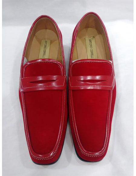 Men's Leather Lining Red Slip On Cushioned Insole Shoes